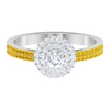 0.75 CT Diamond Double Halo Engagement Ring with Created Yellow Sapphire Side Stones
