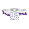 2.25 CT Moissanite Solitaire Ring with Amethyst Side Stones