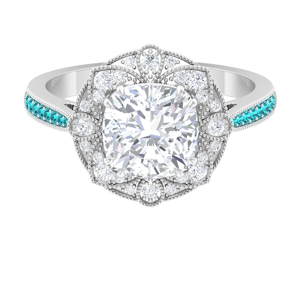 2.25 CT Moissanite and Created Paraiba Tourmaline Vintage Floral Ring