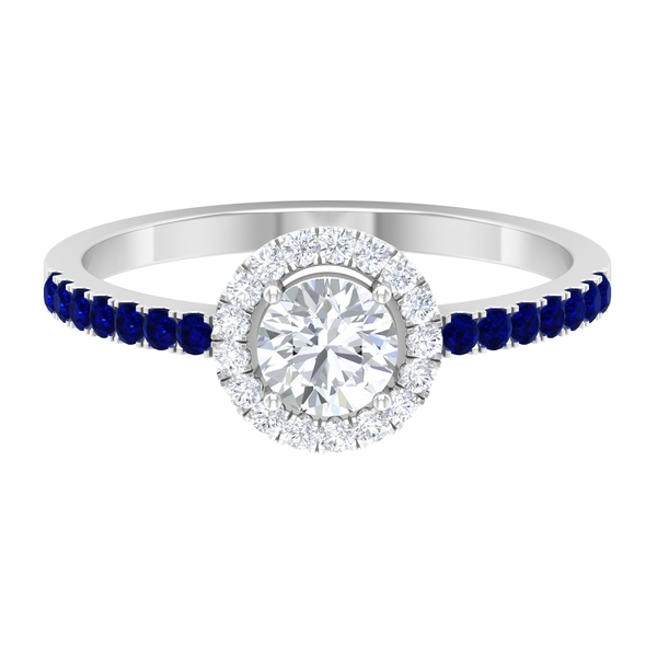 3/4 CT Solitaire Diamond Engagement Ring with Created Blue Sapphire