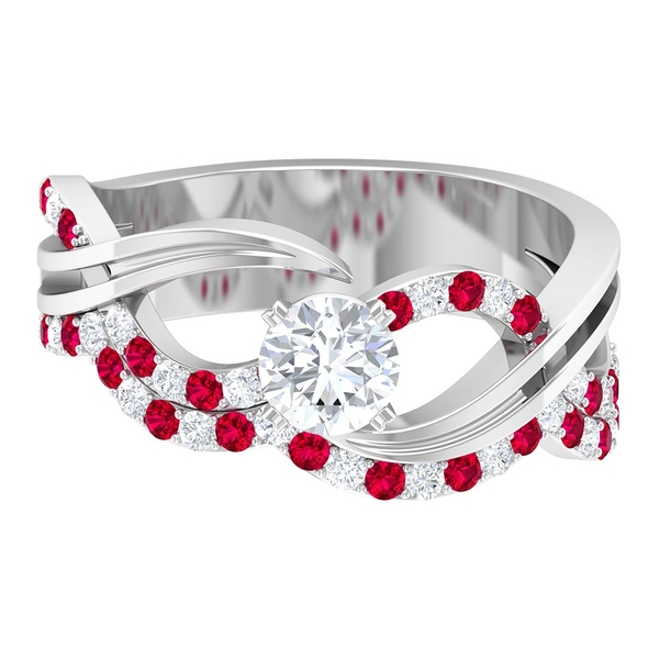 1 CT Diamond and Ruby Twisted Infinity Engagement Ring
