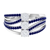 3/4 CT Cluster Diamond and Blue Sapphire Engagement Ring