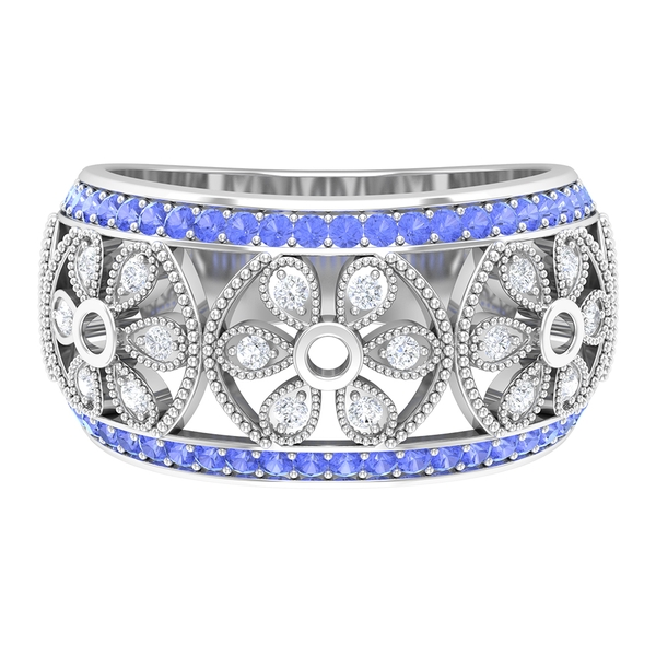 0.75 CT Diamond and Tanzanite Floral Wedding Band Ring with Milgrain Embellishments