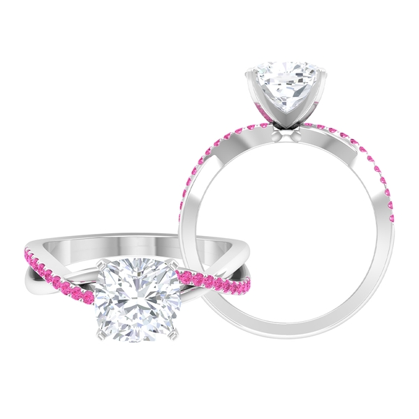 2.25 CT Moissanite Solitaire Ring with Created Pink Sapphire Accent