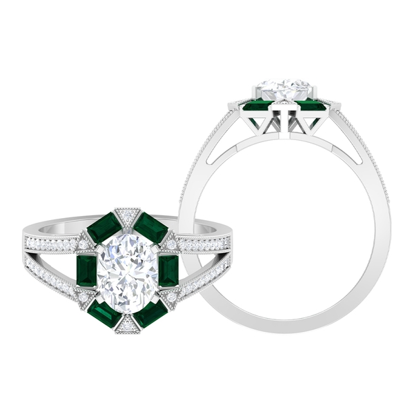 2.75 CT Moissanite and Green Tourmaline Art Deco Engagement Ring