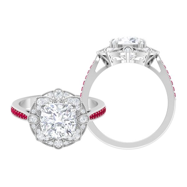 2.25 CT Moissanite and Ruby Art Deco Engagement Ring