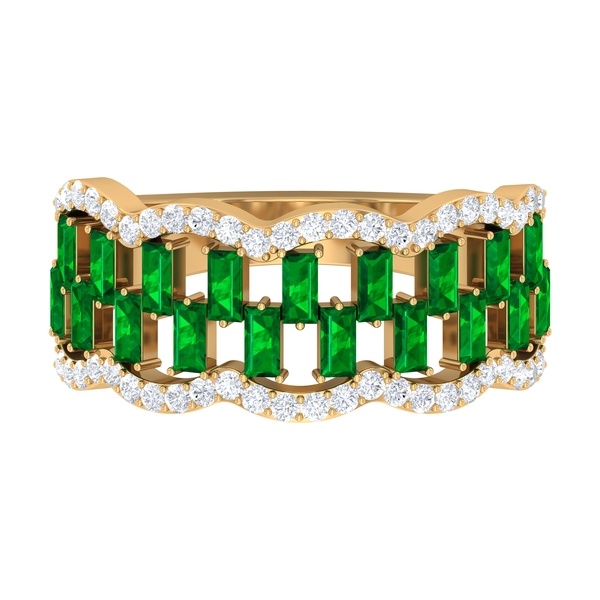 1.75 CT Baguette Cut Created Emerald and Diamond Classic Wedding Band Ring