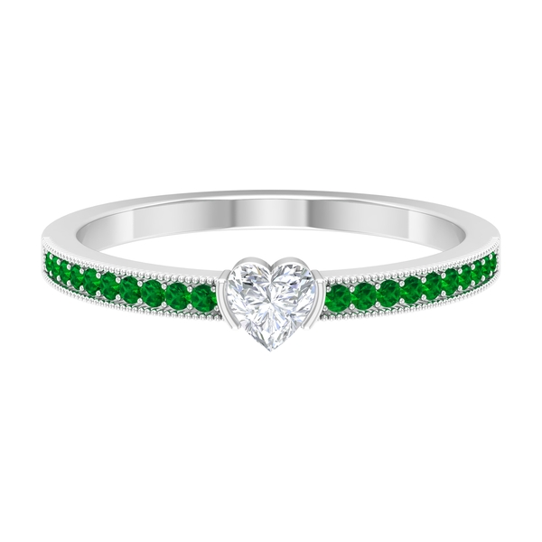 1/2 CT Heart Shape Diamond Anniversary Ring with Created Emerald Side Stones