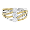0.75 CT Diamond and Citrine Cluster Engagement Ring