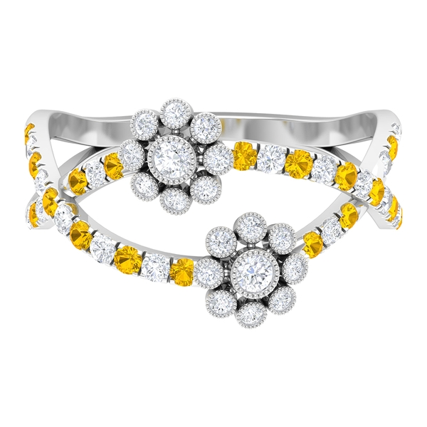 1/2 CT Diamond Floral Anniversary Ring with Created Yellow Sapphire