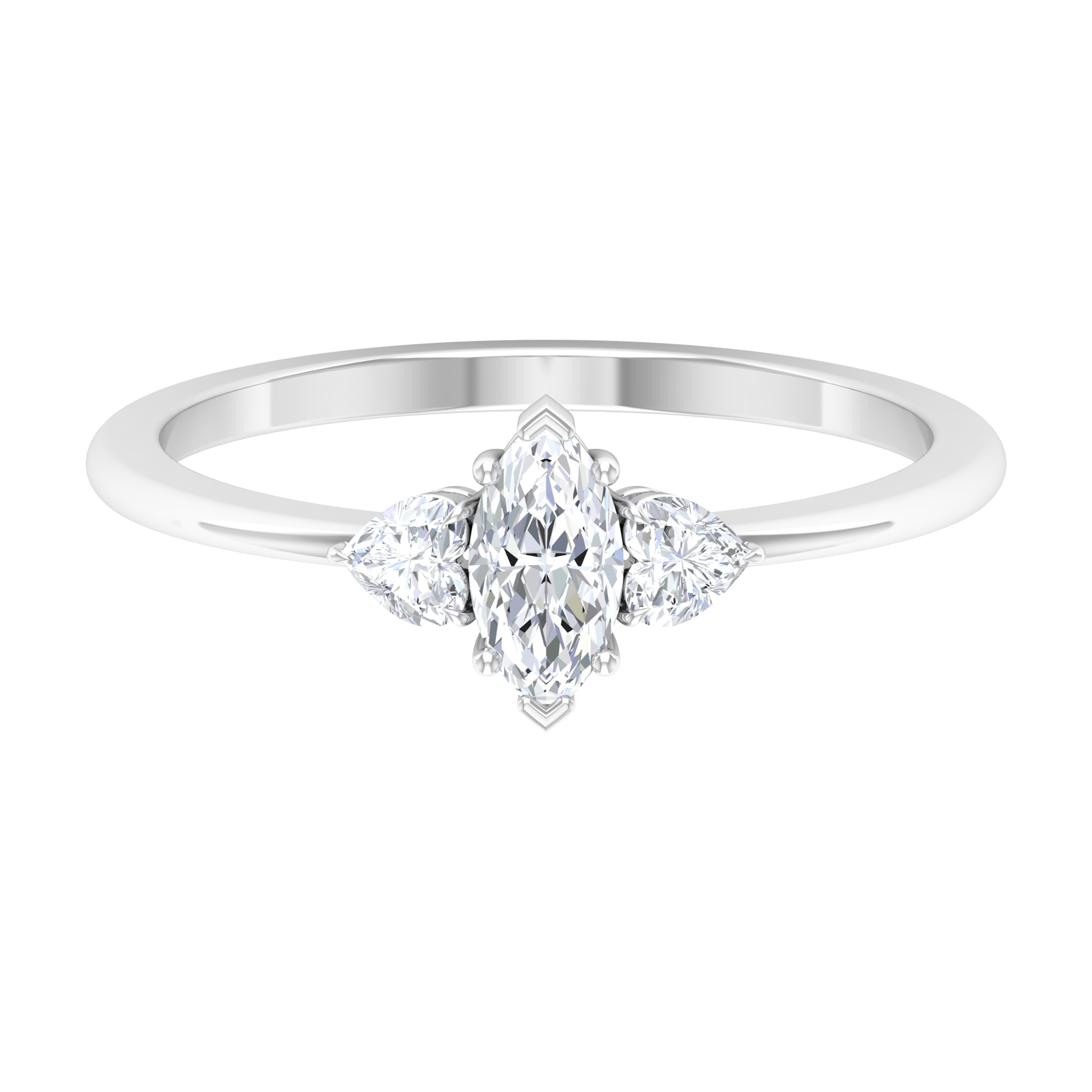 1/2 CT Marquise and Heart Shape Diamond Three Stone Ring in Prong Setting