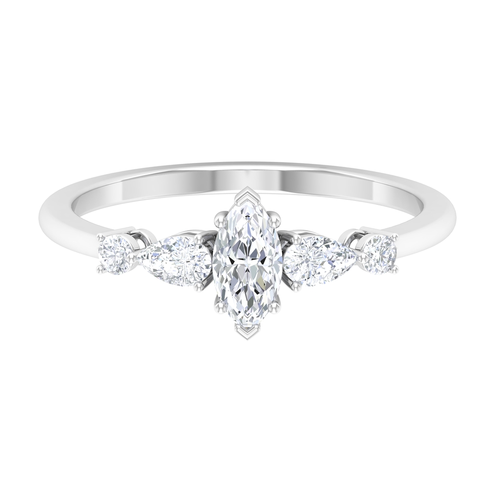 3/4 CT Prong Set Marquise and Pear Shape Diamond Minimal Ring For Women