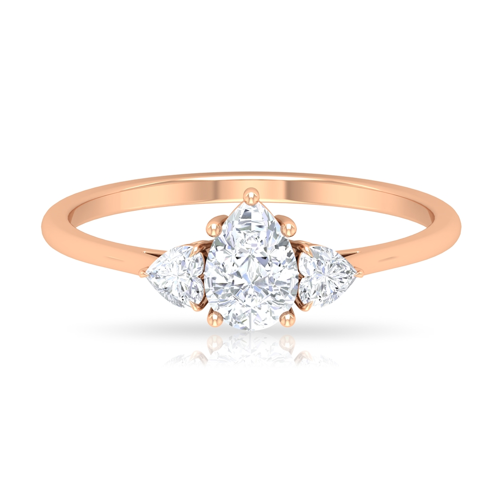 1/2 CT Pear and Heart Shape Diamond Three Stone Ring in Prong Setting