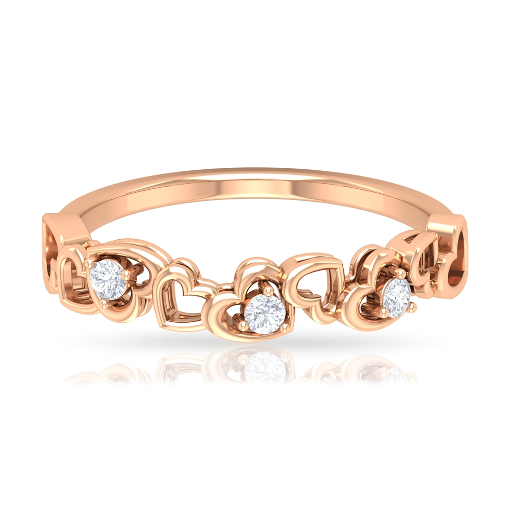 Prong Set Diamond and Gold Open Heart Semi Eternity Ring For Women