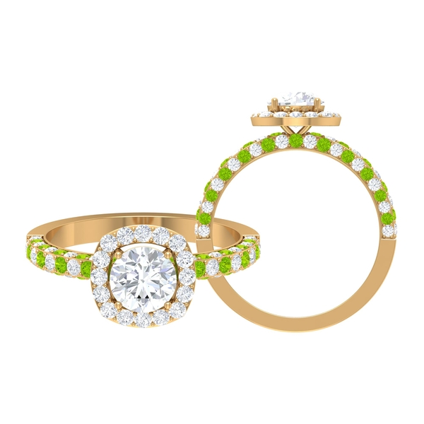 1.75 CT Solitaire Moissanite and Created Kryptonite Engagement Ring