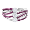 3/4 CT Diamond Cluster and Rhodolite Engagement Ring