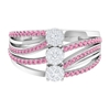 3/4 CT Diamond Cluster and Pink Tourmaline Engagement Ring