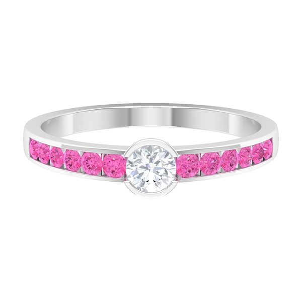 1/2 CT Diamond Anniversary Ring with Created Pink Sapphire Side Stones