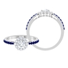 1 CT Diamond Halo Engagement Ring with Blue Sapphire Side Stones