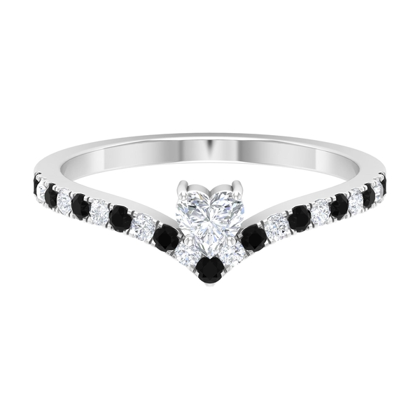 1/2 CT Heart Shape Diamond Solitaire and Black Spinel Chevron Promise Ring