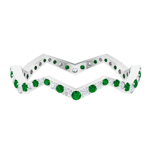 1/2 CT Created Emerald and Diamond Zig Zag Stackable Ring