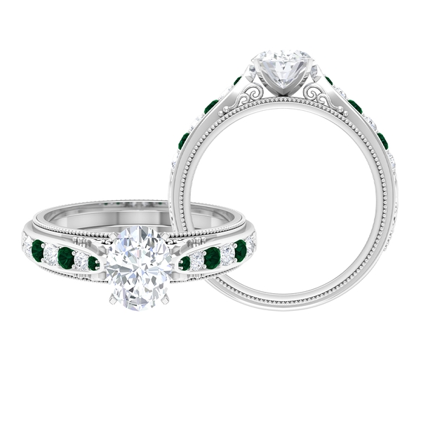 1.75 CT Oval Cut Solitaire Moissanite and Green Tourmaline Ring
