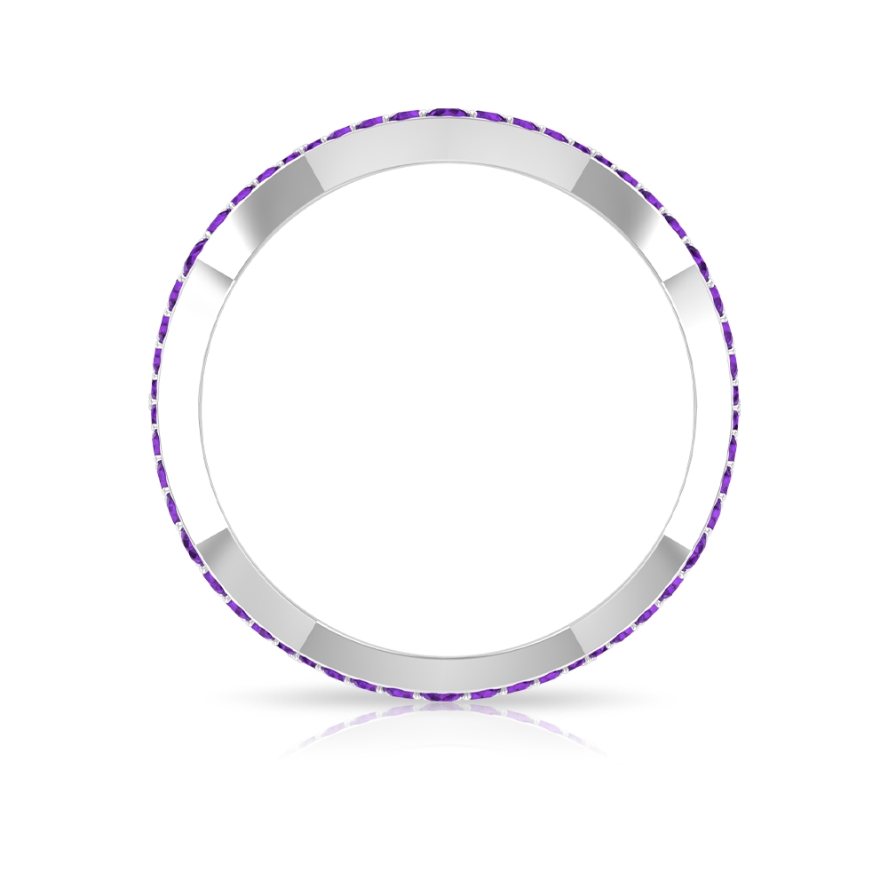 0.50 CT Amethyst Zig Zag Stackable Band Ring
