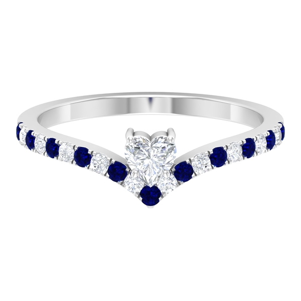 1/2 CT Heart Shape Solitaire Diamond and Created Blue Sapphire Chevron Promise Ring