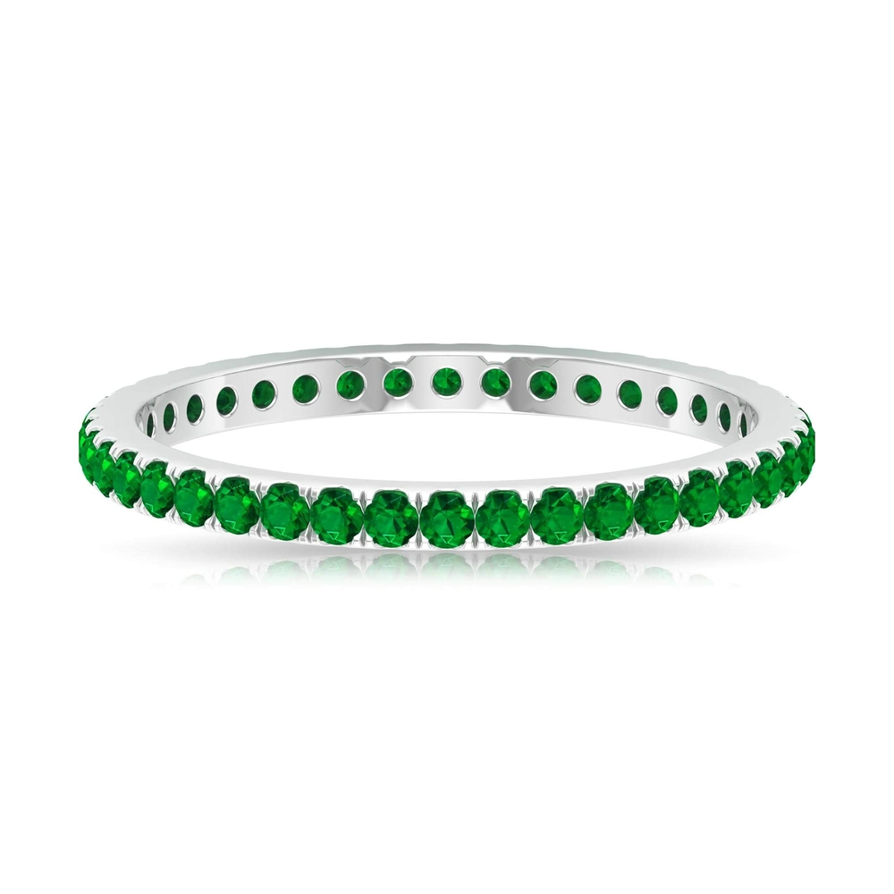 May Birthstone 0.50 CT Emerald Eternity Stackable Engagement Ring for Women