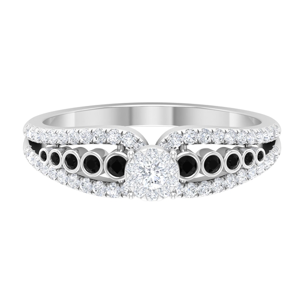 0.50 CT Diamond Engagement Ring with Black Spinel Side Stones