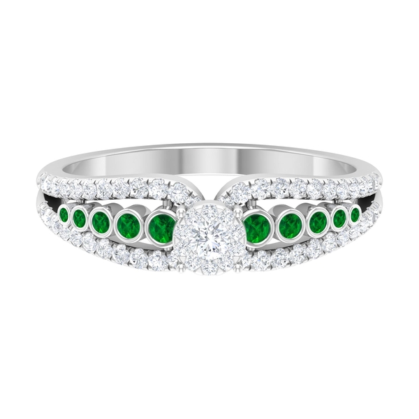 0.50 CT Diamond Engagement Ring with Created Emerald Side Stones