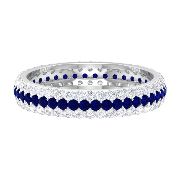 1.75 CT Blue Sapphire and Diamond Eternity Band Ring