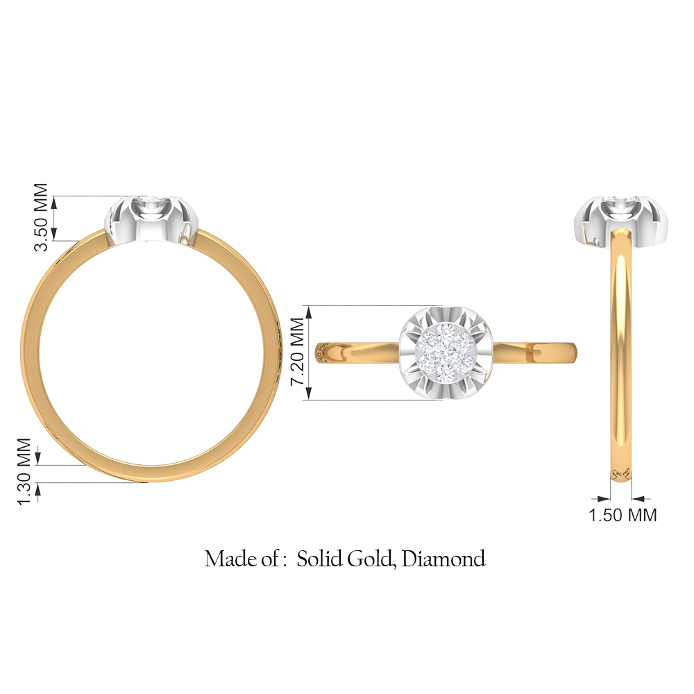 Round Shape Diamond Solitaire Ring in Illusion Setting
