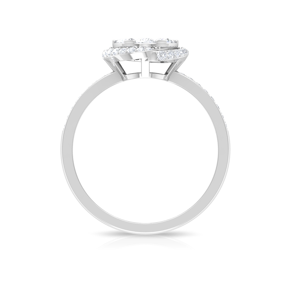 0.75 CT Diamond Illusion Cluster Ring for Women