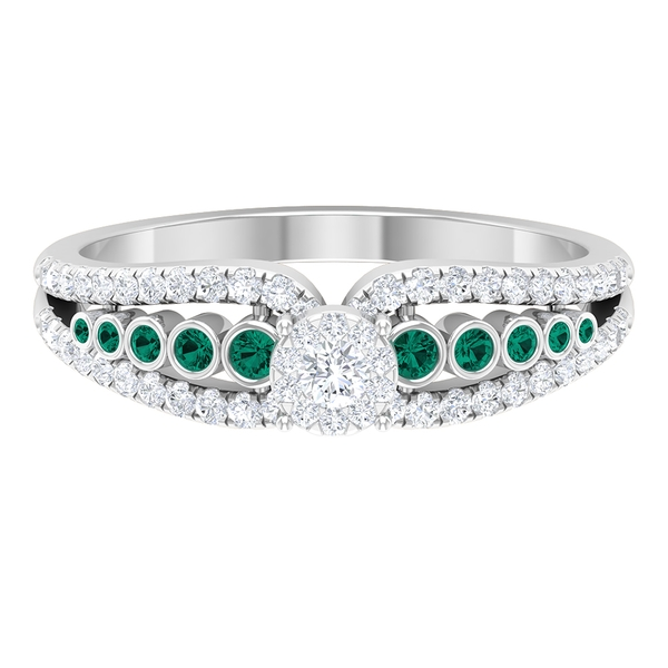 1/2 CT Solitaire Diamond and Created Russian Emerald Classic Engagement Ring