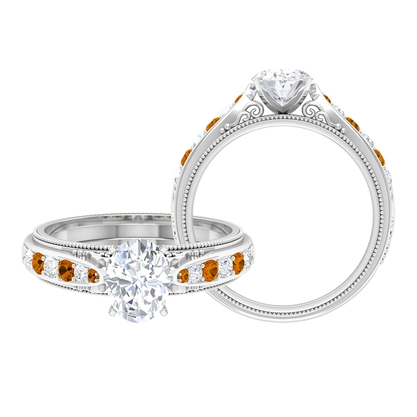 1.75 CT Oval Cut Solitaire Moissanite and Created Orange Tourmaline Ring