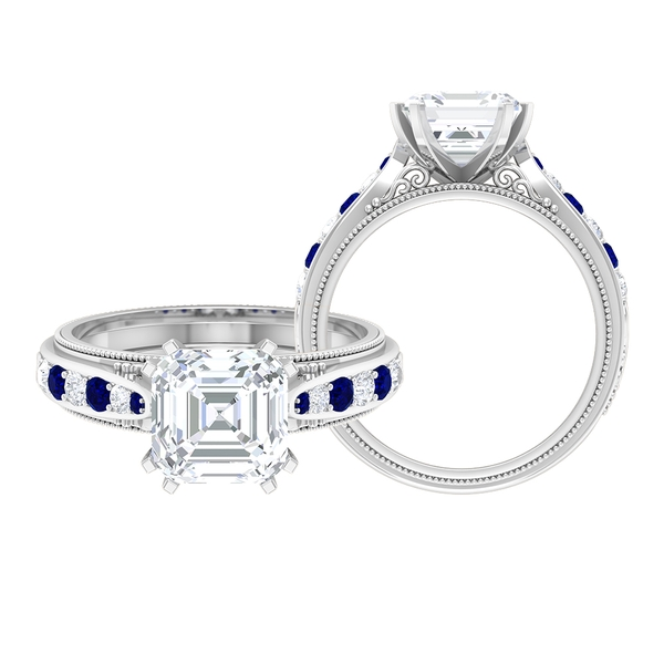 1.75 CT Asscher Cut Moissanite and Created Blue Sapphire Ring