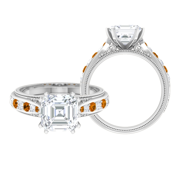 3 CT Solitaire Moissanite and Created Orange Tourmaline Ring