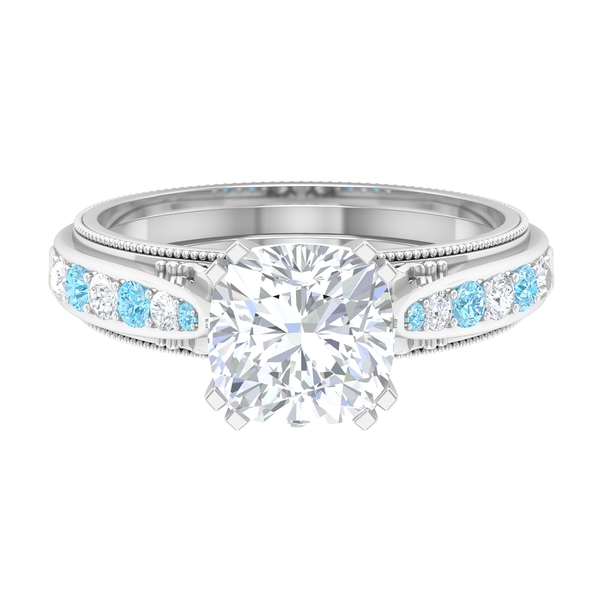 2.25 CT Solitaire Moissanite and Created Aquamarine Vintage Engagement Ring