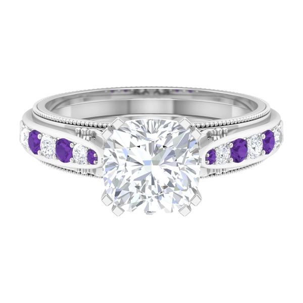 2.50 CT Solitaire Moissanite and Created Lavender Amethyst Vintage Engagement Ring