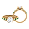 3.25 CT Round Cut Moissanite and Created Emerald Engagement Ring