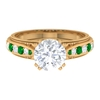 8 MM Double Prong Set Round Moissanite Vintage Engagement Ring with Emerald and Milgrains