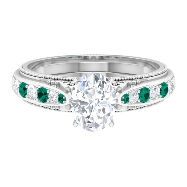 1.75 CT Moissanite and Created Russian Emerald Vintage Engagement Ring