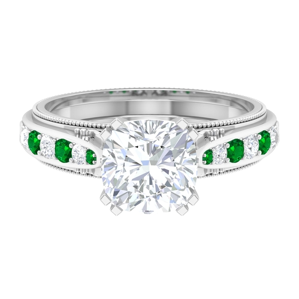 2.25 CT Moissanite and Created Emerald Vintage Engagement Ring