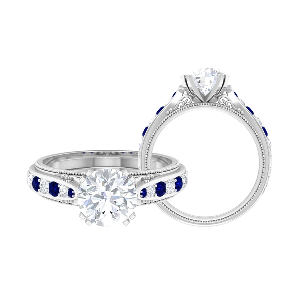2.50 CT Round Cut Moissanite and Created Blue Sapphire Engagement Ring