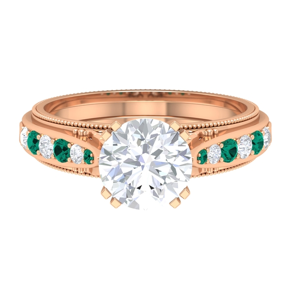 2.50 CT Round Cut Moissanite and Created Russian Emerald Ring