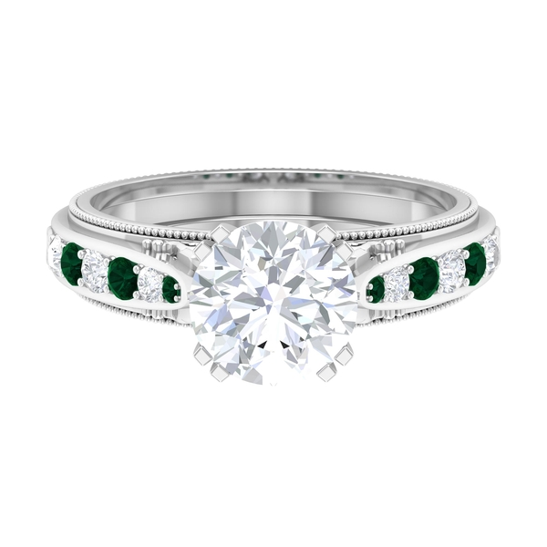2.50 CT Solitaire Moissanite and Green Tourmaline Vintage Engagement Ring