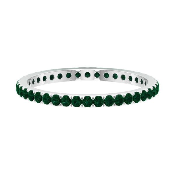 1/2 CT Green Tourmaline Eternity Stackable Ring