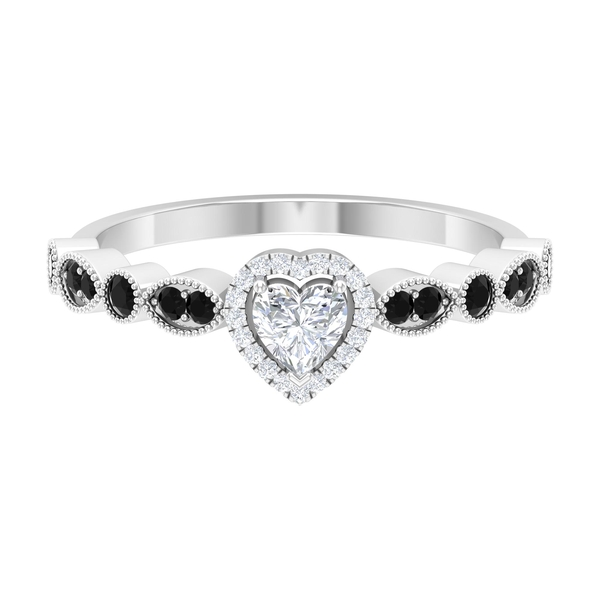 0.50 CT Heart Shape Diamond Ring with Black spinel Side Stones