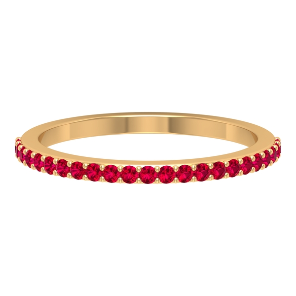 1/4 CT Created Ruby Semi Eternity Stackable Ring